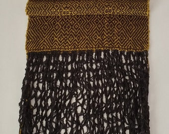 Handwoven Twill Scarf with Macrame Fringe