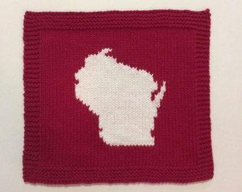 Hand Knit Wisconsin Cotton Washcloth Dishcloth
