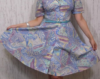 Vintage Abstract Print Dress