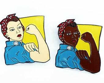 Rosie the Riveter Enamel Pin, Feminist Pin Flair, Hat Pin, Lapel Pin, Political Pin, Pin Badge, Intersectional Feminist, History, WWII