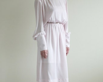 Soft Pink Peasant Sleeve Dress with Rainbow Pin Stripes