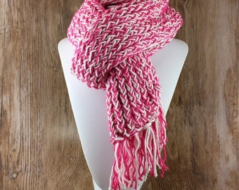 Knitted Con Amor - Bright Pink & White Hand Knitted Scarf with Metallic Thread - Knit Scarf, Women's Scarf, Fringed Scarf, OOAK (133)