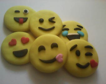 12 Emoji Emoticon Decorated Sugar Cookies Baked Goods Sugar Cookie Handmade Cookies Decorated Internet Cookies Party Favors Emotion Cookies