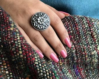 Sterling silver adjustable flower ring