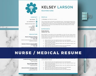 Nurse Resume Template | Doctor Resume Template for MS Word and Pages;  RN Nurse Resume | Doctor CV, Nurse cv | Instant Download; cv template