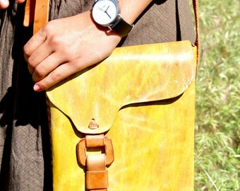 Hand painted leather yellow bag