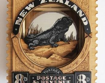 New Zealand Wall Art - Vintage Postage Stamp, Tuatara, 3D Laser Cut
