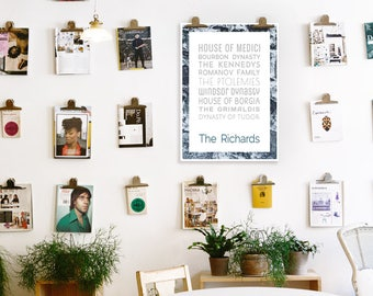 Last Name Wall Art, Customizable Poster, Custom Names, Family Portrait Custom, 50 x 70 poster, Typographic Print, Digital PDF Download