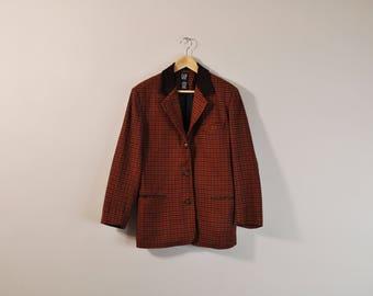 90s Structured Blazer, Oversize Plaid Blazer, Vintage 90s Blazer, 90s Minimal Blazer, 90s Prep Blazer, Womens 90s Blazer, Tartan Blazer