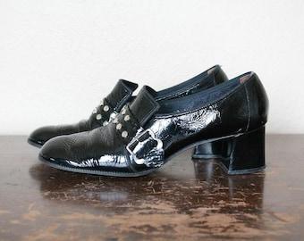 1960s Vintage Studded Patent Leather Mod Heels