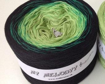 High Hopes - Green Gradient Yarn - Crochet Yarn - Knitting Yarn - Melodyy by Wolltraum - Ombré Yarn - Color Changing -Green Yarn -Black Yarn