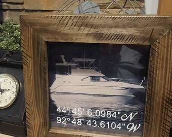 Rustic Pallet Wood Frame with 3D effect Photo and Text