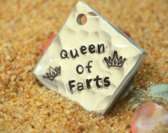 Dog name tag - Dog ID tag - hand stamped pet tag - funny dog tag - custom dog tag - Queen of Farts