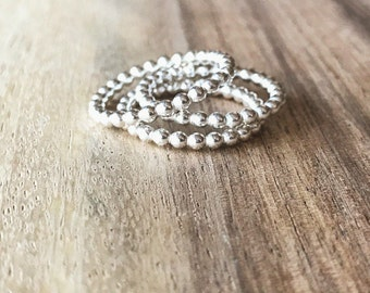 Silver Beaded Stacking Rings - THREE