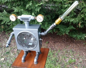 Steampunk Industrial Robot Lamp with remote LED and Light Saber!!