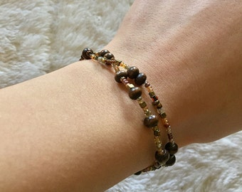 Beaded Brown and Gold Wrap Bracelet - Dainty Bracelet