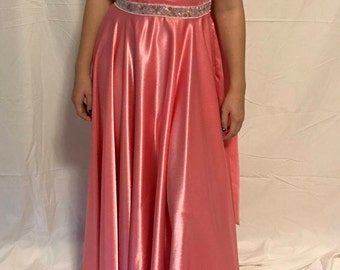 Salmon Full Length Ball Gown Waltz Foxtrot Prom Formal Dance Costume Dress