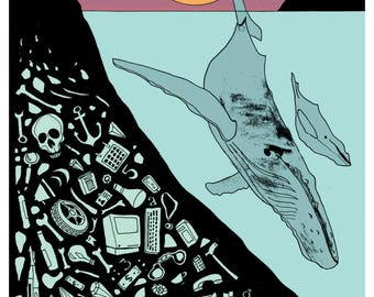 Whale Song, AD 3000 - Illustration Art Print, Digital Print, Drawing, Fantasy Art