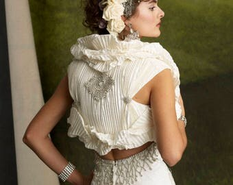 One-of-a-Kind Pleated Silk Bridal Jacket