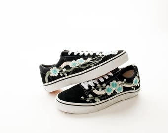 Custom Vans Shoes | Old Skool Style Rose Blossom Floral Patch | Multiple Colors | Free Shipping