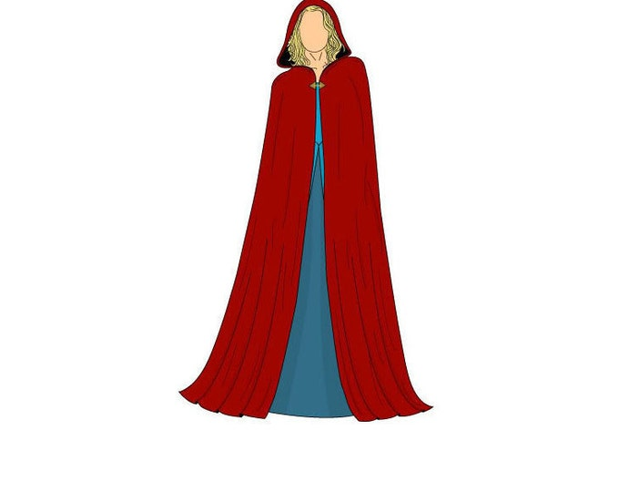 Featured listing image: Long Hooded Cape Sewing Pattern - One Size - Download PDF