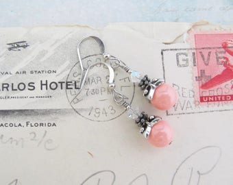 Coral Pink Pearl Earrings Antiqued Silver Plated Swarovski Crystal Pearls, Dainty Dangle Drop Wedding Bridal Spring Summer Gift for Her