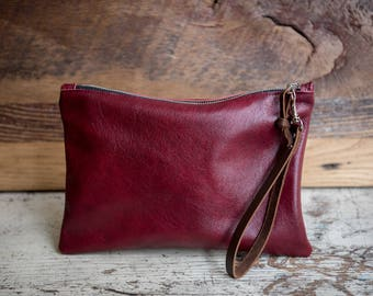 Cherry Red Leather Zipper Clutch/ Leather Clutch Bag/ Leather Bag/ Travel Organizer/ Cord Organizer/ Leather Wristlet