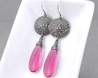 Womens Boho Earrings Long Pink Earrings Silver Dangle Earrings Statement Jewelry Sterling Silver Earrings Boho Jewelry - Kristen