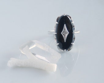 Antique Art Deco Onyx Ring, Vintage Black Onyx Diamond Ring, Women's Onyx Ring, Sterling Silver Size 6.5