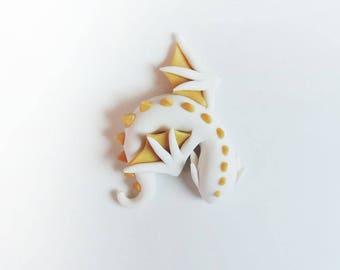 Beautiful Gold and White Sleeping Dragon Figure