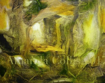 Print from original oil painting, yellow green, amber, golden, woodland, forest, abstract landscape, A6 to A3