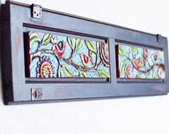 Mosaic Wall Art Horizontal Art Narrow Wall Art Happy Birds Ceramic Tile Mosaic Art Reclaimed Wood Frame Colorful Pottery Boho Decor