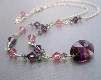 Swarovski Crystal Necklace Earring Set, Purple & Pink Crystal, Sterling Silver, Swarovski Crystal Elements Holiday Special Occasion Gift Set