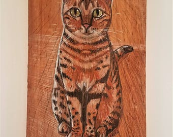 Bengal Cat ~ Cat Art ~ Spotted Cat ~ Cat Lover Gift ~ Cat Portrait ~ Cat Lover ~ Bengal Cats ~ Cat Decor ~ Color Pencil ~ Cat Art on Wood.