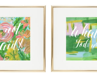 Print-at-Home Digital John Paul II and Saint Gianna Molla Quote Prints of Original Floral & Abstract Paintings