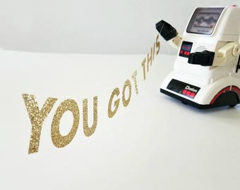 You Got This MINI BANNER, SMALL Motivational Letter Garland, Gold Cubicle Bunting, Office Desk Accessory, Support Gift, Encouragement Sign