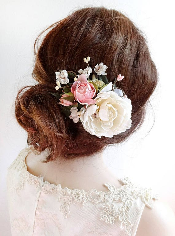 bridal hair clip, floral hair clip, bridal hair piece, pink floral hair comb, bridal hair flower, bridal headpiece, ivory flower hair clip