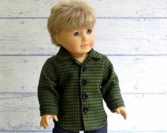 Green Plaid Flannel Shirt, 18 inch Boy Doll Button Up Shirt, American Boy Doll Winter Clothes