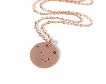 Rose Gold North Star Necklace, Big Dipper, Constellation, Ursa Major, Astronomy, Gift for Her, Stars, Pink, Valentines Day Gift
