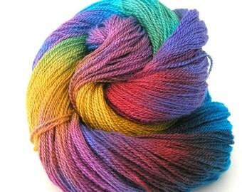 Hand Dyed Yarn Lace Weight Yarn Silk Merino Wool Hand Painted Colorful Soft 870 yards Weaving Knitting Scarf Shawl Yarn - Color Oasis