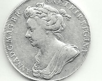 1702 - CORONATION of Queen ANNE - Genuine Great Britain Commemorative solid SILVER medal - engraved by J Crocker- , good condition
