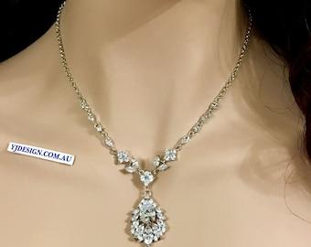 Vine Bridal Necklace, Leaves Wedding Necklace, Woodland Wedding Jewelry, Marquise Necklace, Flower Pendant, Cz Bridal Jewelry, CASSANDRA