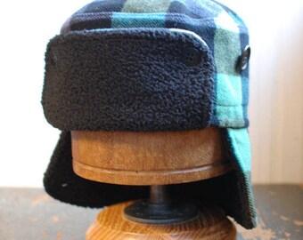 Furry Russian L: Buffalo plaid furry russian hat in multicolored woolen fabric, trapper hat, bomber hat, russian ushanka, fur ear flap hat