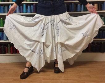 Upcycled Denim Long White Maxi Bustle Skirt/Recycled Blue Jean Skirt/Folk/Boho/Upcycled Recycled Repurposed/Long Skirts for Women/Size Large