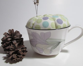 Pin Cushion Cup,  choice of three,  pin keep, tea cup cushion, sewing accessory, gift for sewer