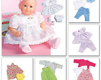 Baby Doll Clothes Sewing Pattern 7 Outfits Medium & Large Dolls McCall's 4338 M4338