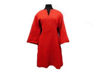 Vintage 60s Red Gray Babydoll Dress Geometric A Line Flare Kimono Sleeve Mod Holiday Party M Medium L Large
