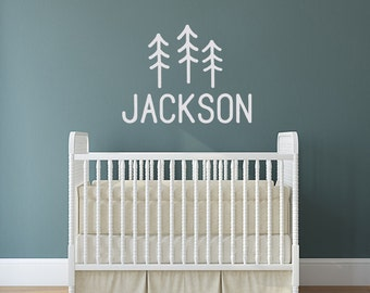 Name Decal, Personalized Nursery Decal, Boy room wall decal, Pine Tree decor, camping adventure nature woodland decal