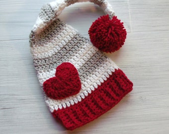 Baby Valentines Day Hat, Gray and Red Baby Elf Hat, Heart Hat, Crochet Heart, Valentine Photo Prop