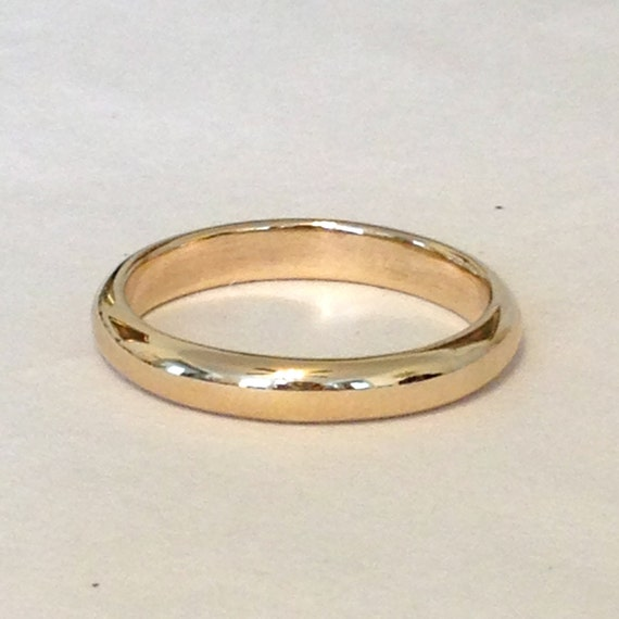 14k Yellow Gold High Polished 2mm Traditional Milgrain: Wide 3.5mm Half Round 14k Yellow Gold Wedding Band 3.5mm X 2mm